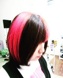 個性派カラー ピンクメッシュ